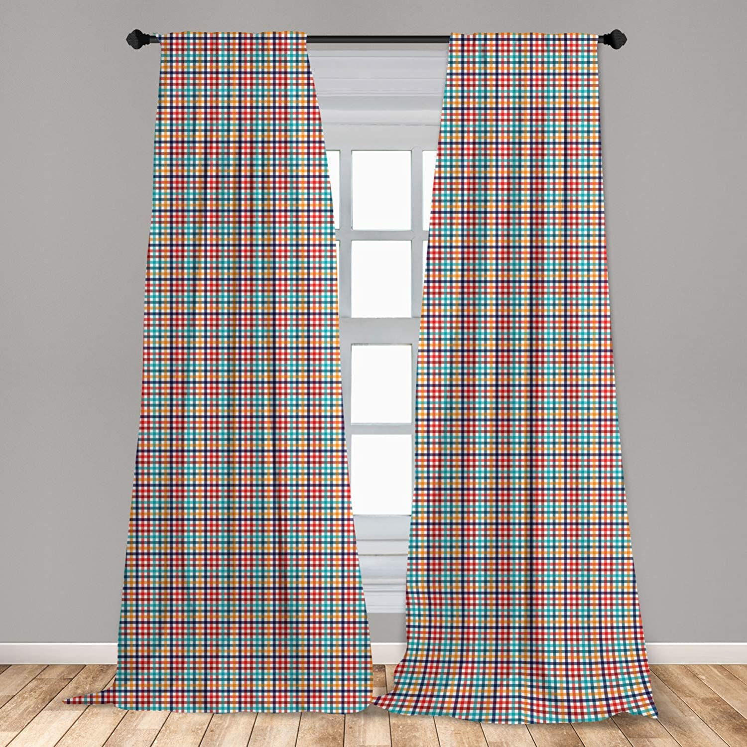 Ambesonne Checkered Window Curtains, Colorful Fresh Summertime Pattern Design Gingham Plaid Striped Traditional Picnic, Lightweight Decorative Panels Set of 2 with Rod Pocket, 56