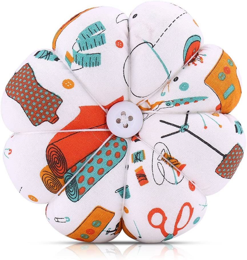 Wrist Pin Cushion, Pumpkin Fabric Sewing Needles Pin Cushion with Elastic Wrist Belt(2)