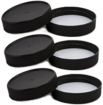 Plastic Lids for Regular-Mouth Mason Jars Matte Finish with Foam liner (6, Black)