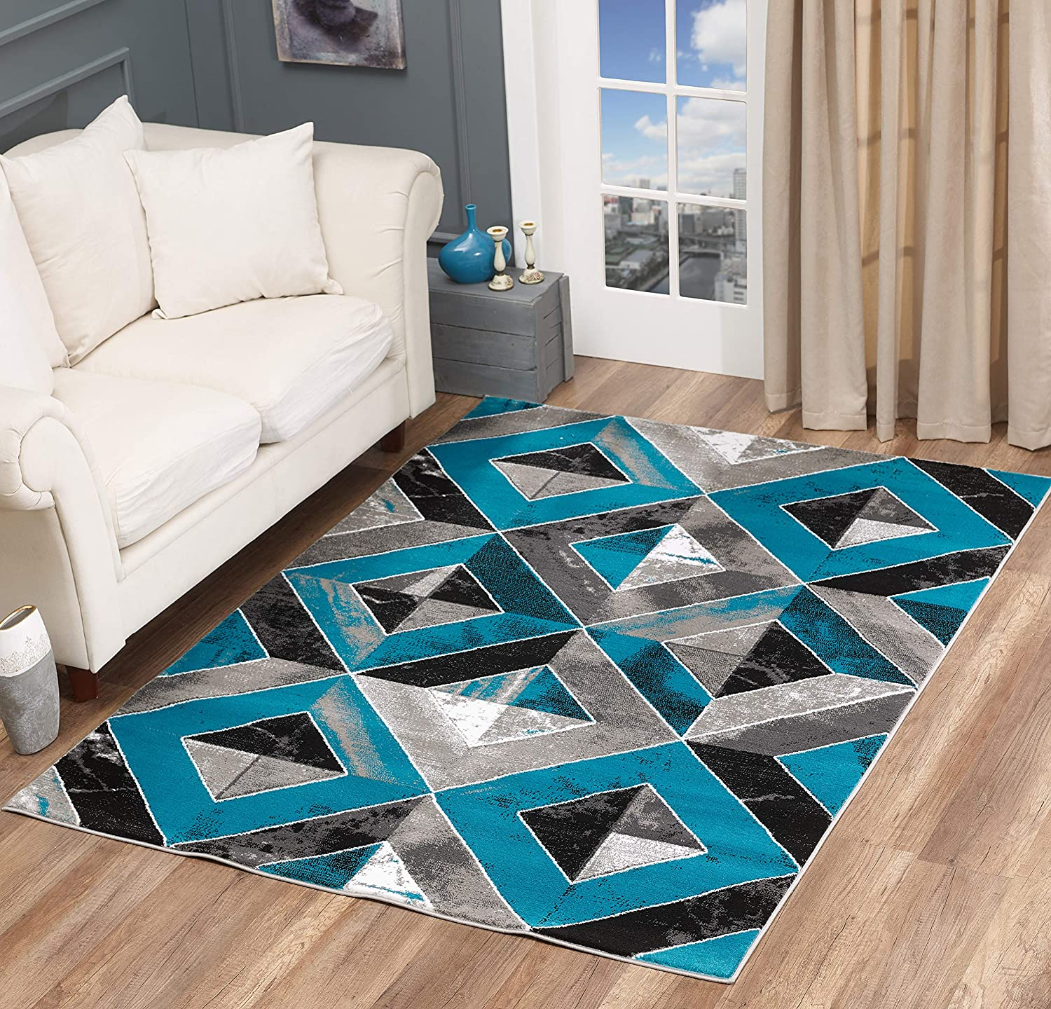 GLORY RUGS Area Rug Abstract Diamond Modern Modern Distressed Carpet Bedroom Living Room Contemporary Dining Accent Sevilla Collection 5504A (8x10, Turquoise)