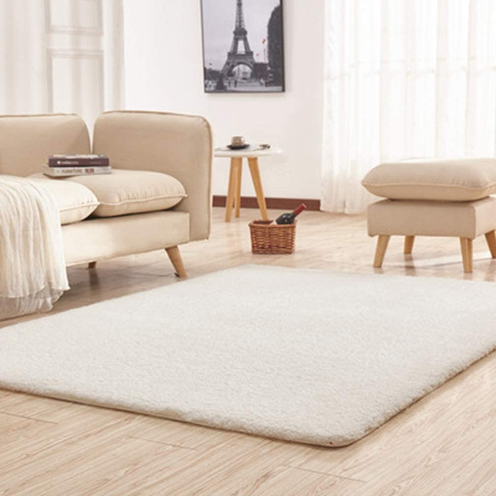 Solid Rectangular Area Rugs Soft Shag Living Room Children Bedroom Rug Anti-Slip Shaggy Plush Carpets Home Decor Modern Indoor Outdoor Runners Nursery Ivory White 4' X 6'