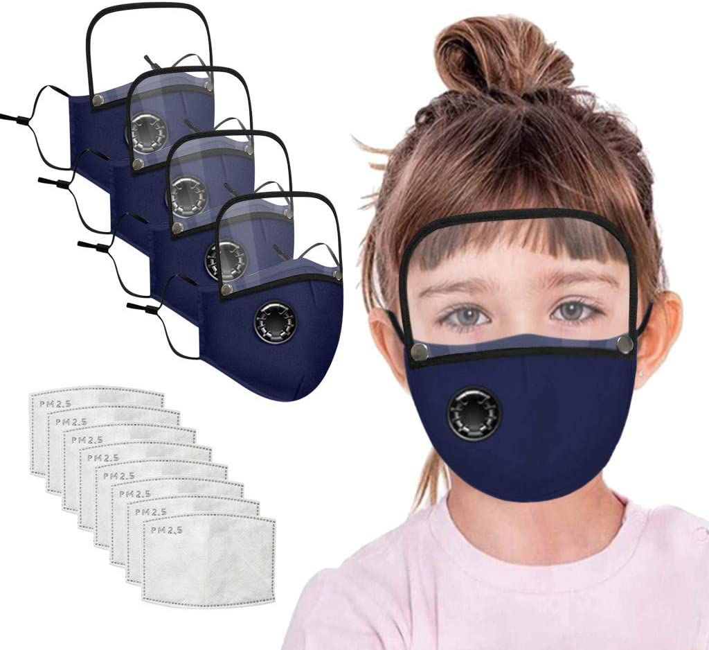 4 Pcs Reusable Face Coverings with Breathing Valve and Detachable Eye Protection for Kids,with 8 Replaceable Filters