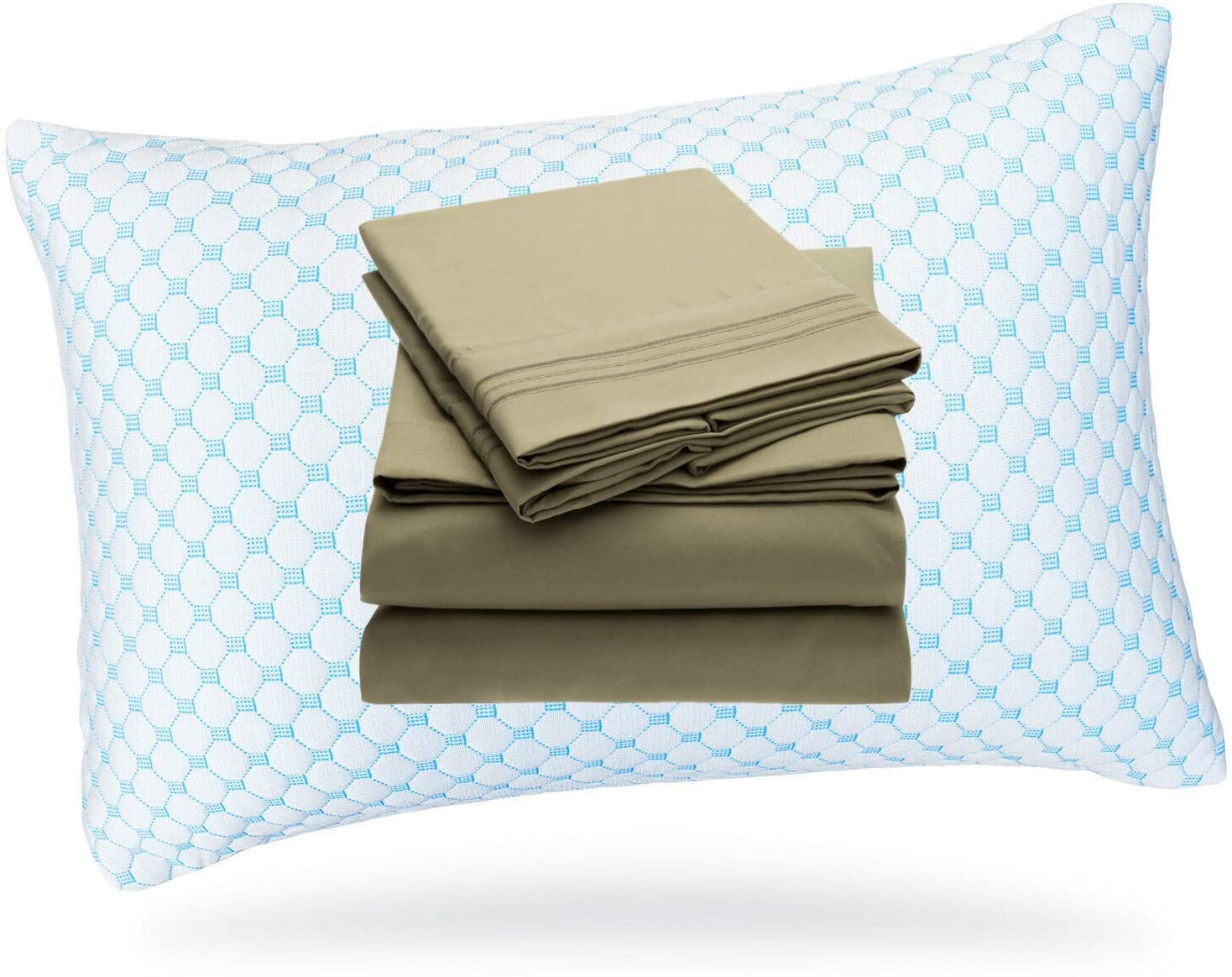 Memory Foam Cooling Pillows for Sleeping - Neck & Back Support | 4 Piece Soft Microfiber Bed Sheet Set Included | Queen or King | 1 or 2 Piece (Cool King Sage Green Sheet, 1 Cooling Queen Pillow)