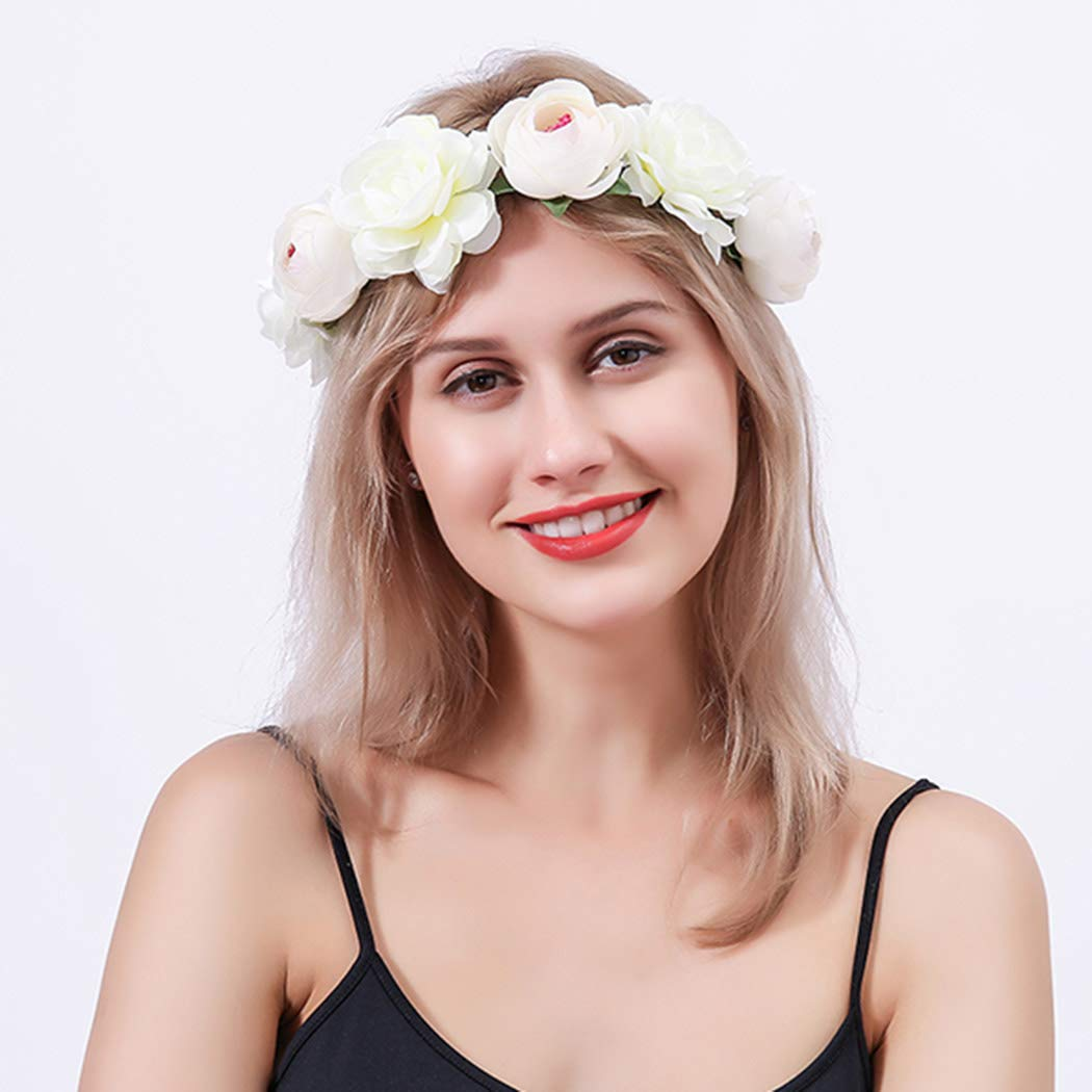 Urieo Bohe Flower Headband White Rose Leaf Floral Crown Garland Headband Adjustable Ribbon Party Festival Costume Ball Wedding Head Wreath for Women and Girls