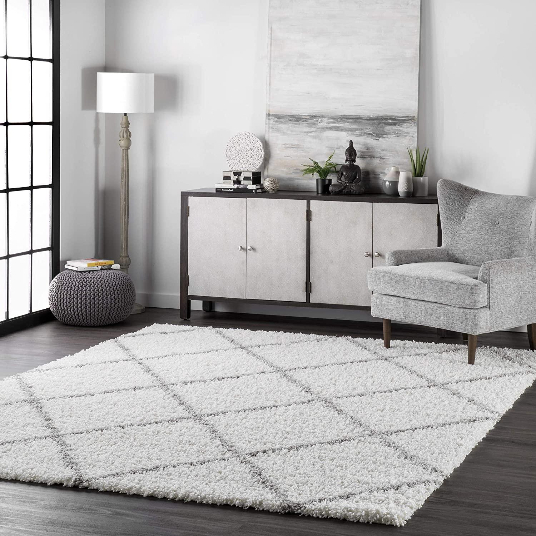 nuLOOM Trellis Cozy Soft & Plush Shag Rug, 10' x 14', White