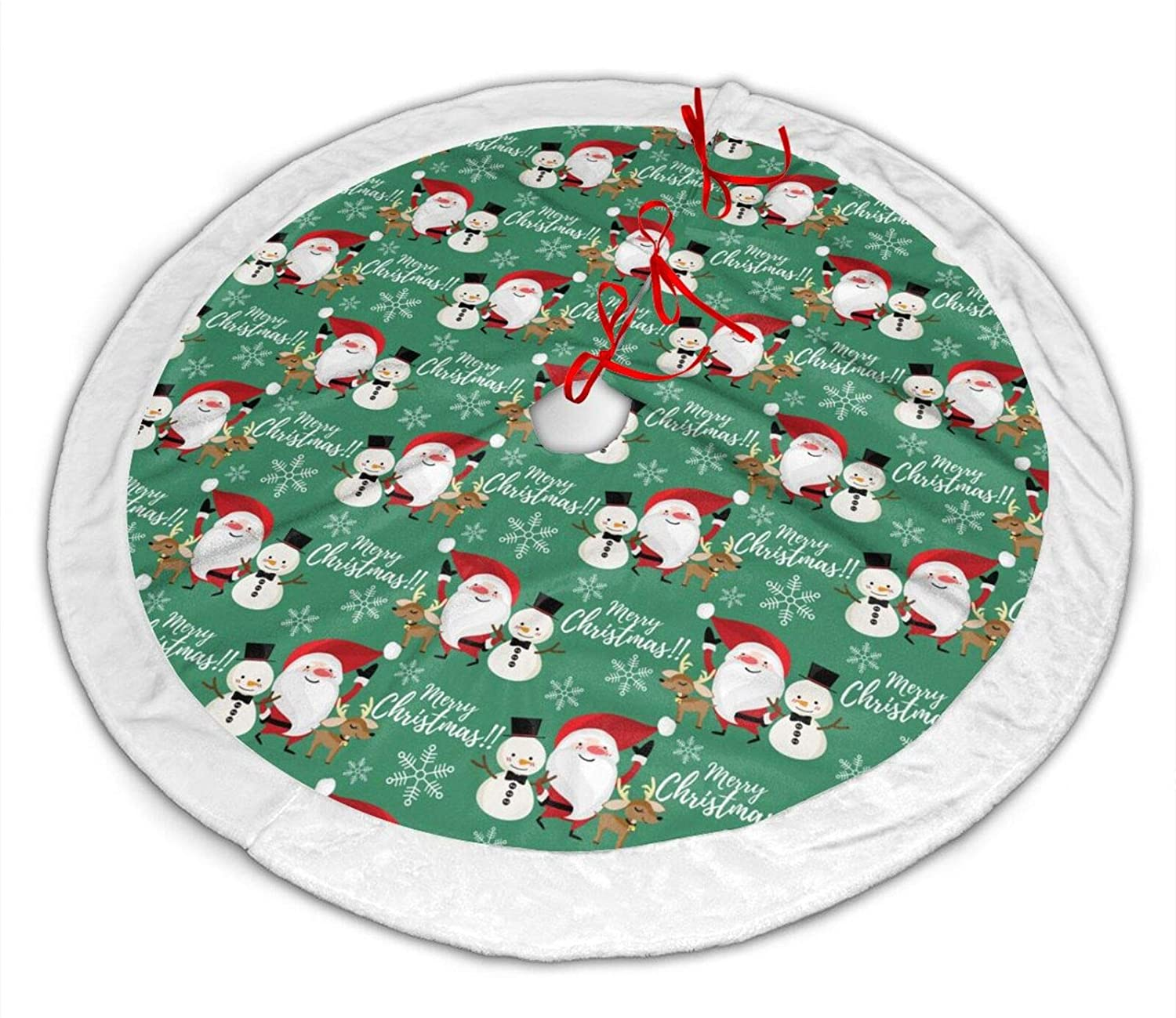 NYF Santa Claus Elk Snowman Snowflake Green Christmas Tree Skirt with White Plush Fabric Trim Round Carpet Decoration Xmas Holiday Party Home Decor Mat Festive Ornament 36