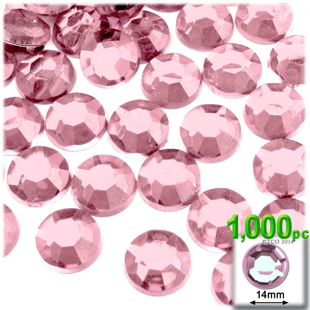 1,000pc Rhinestones Round 14mm - Flatback Light Rose Pink PNK
