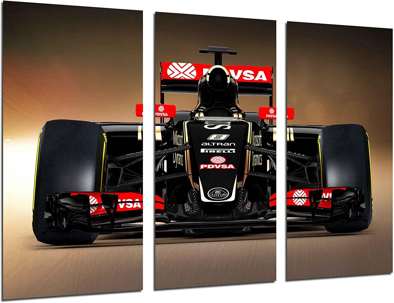 Cuadros Camara Multi Wood Printings Art Print Box Framed Picture Wall Hanging - (Total Size: 38 x 24.4 in), Formula 1 car, Lotus Renault F1, Grosjean - Framed and Ready to Hang - ref. 26508