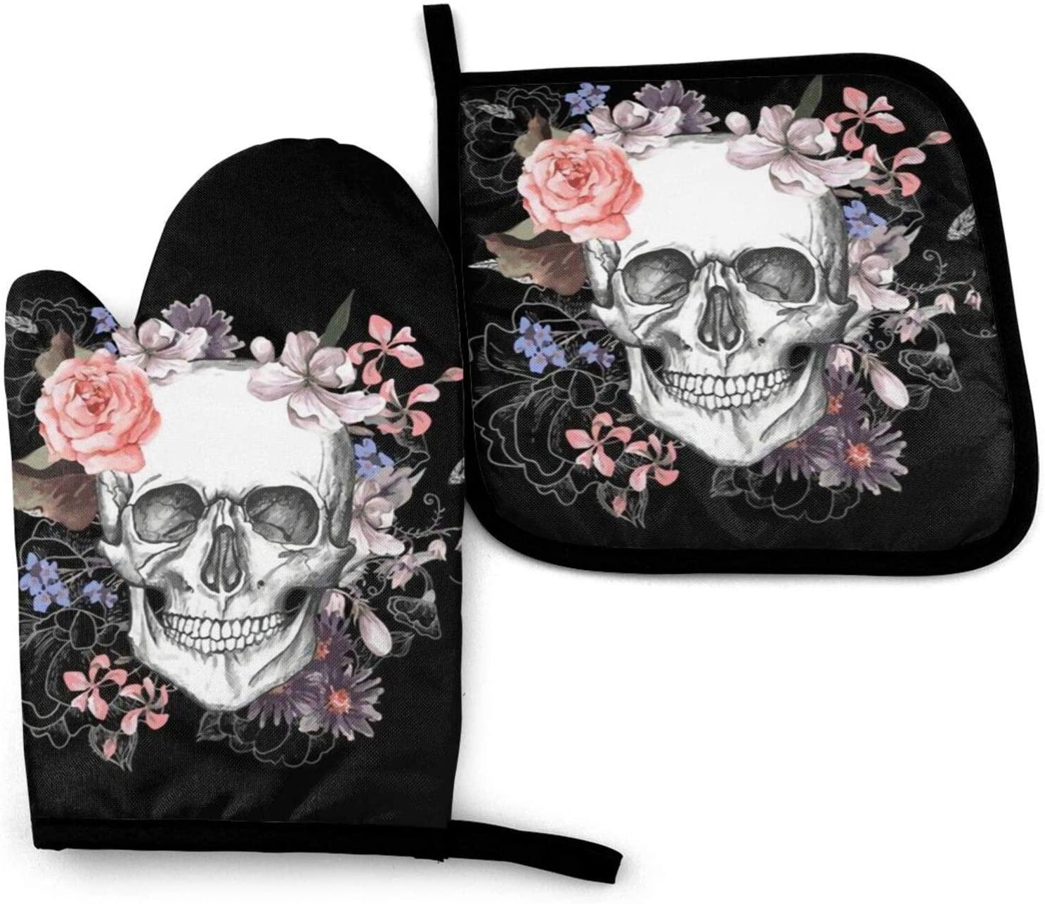 QEKOZU Pink Floral Sugar Skull Flower Oven Mitts and Pot Holders for Kitchen Counter Safe Mats, Non-Slip Textured Grip and Heat Resistant Gloves Perfect for Cooking Baking BBQ Grilling (2-Piece Set)
