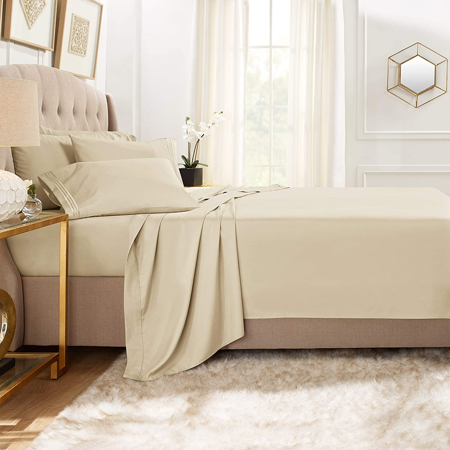 Clara Clark Premier 1800 Collection Bed Sheet Set with Extra Pillowcases Wrinkle, Fade & Stain Resistant, Twin XL, Beige Cream
