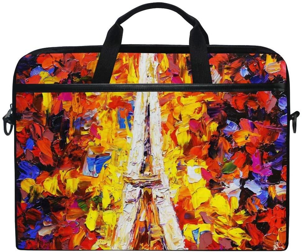 Laptop Bag Briefcase Oil Painting Tower Eiffel Paris Shoulder Messenger Tablet Bag Business Carrying Handbag Working Computer Bag Fit 15-15.4 inch MacBook
