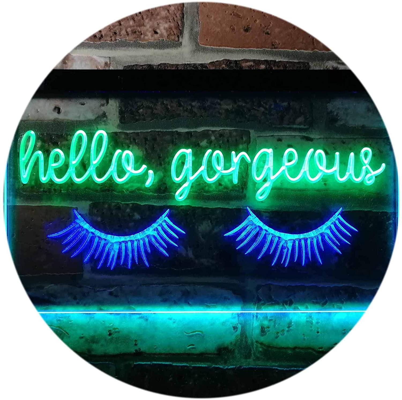 ADVPRO Hello Gorgeous Eyelash Room Display Dual Color LED Neon Sign Green & Blue 12