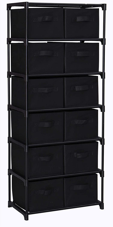 HOMEFORT 12-Drawer Storage Shelf Chest Unit Storage Cabinet Closet Organizer Rack Dresser Storage Towel with Non-woven Fabric Bins in Black