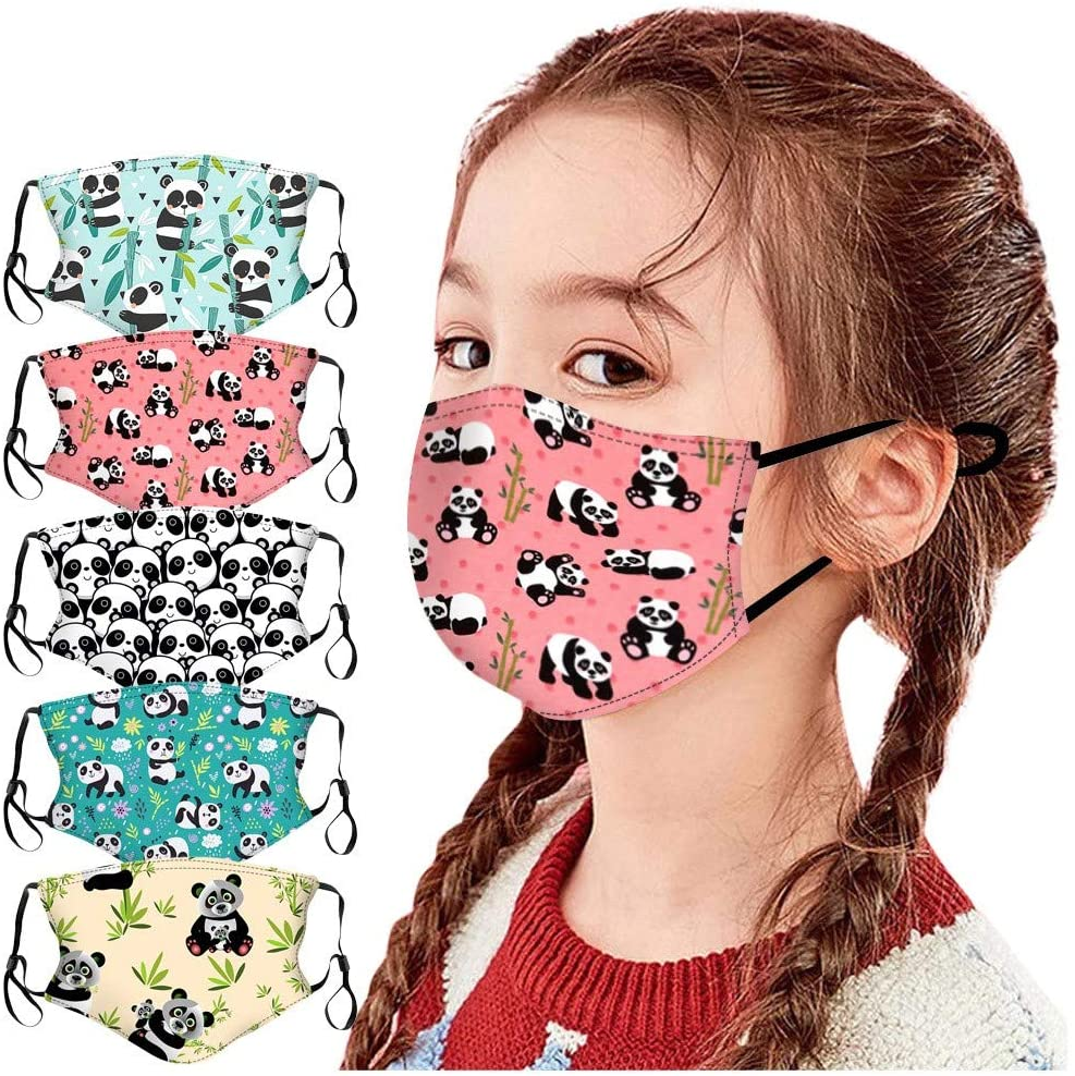 【US in Stock】5PCs Kids Resuable Cute Face Mask with Earloops Washable Seamless Funny Print Adjustable Face Masks Dustproof Breathable Cotton Colth Mouth Cover for Teens