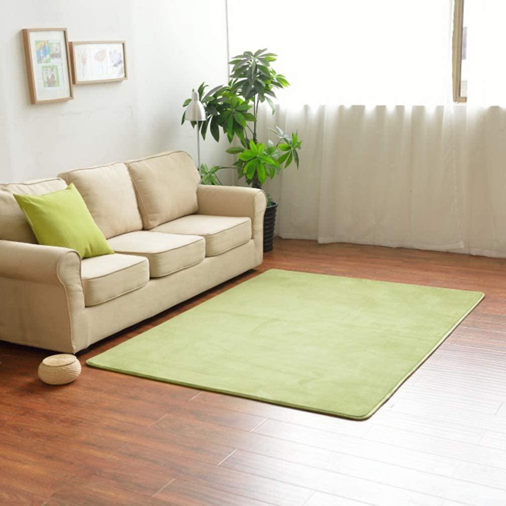 MOXIC Solid Rectangular Area Rugs Soft Living Room Children Bedroom Rug Coral Fleece Anti-Slip Carpets Home Decor Modern Indoor Outdoor Runners Nursery Grass Green 6.5' X 7.2'