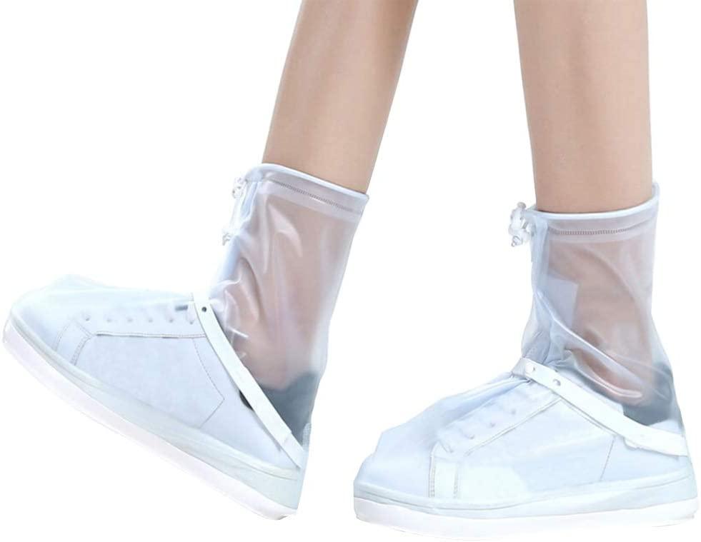 BESPORTBLE Reusable Shoe Covers Plastic Waterproof Snow Rain Boot Non Slip Rain Shoe Covers with Zipper Protective Boots Cover for Men Women M