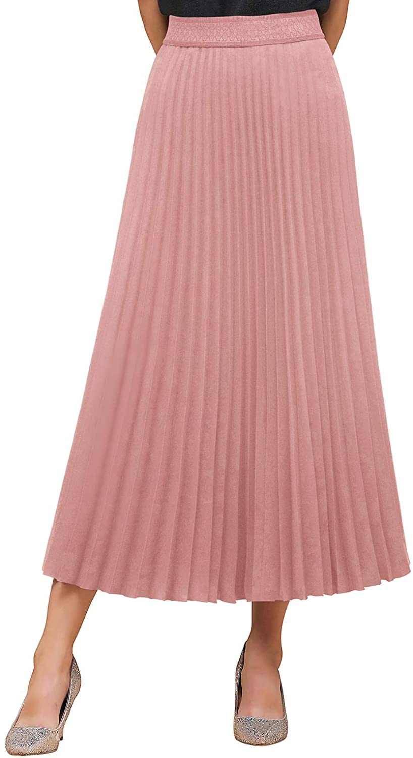 Women's Basic Maxi Chiffon Skirts Stretch Waistline Pleated Swing Midi Skirt