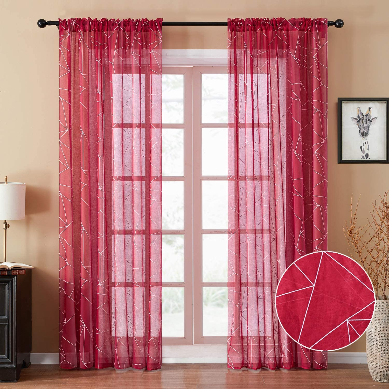 YOKISTG Faux Linen Sheer Curtains 84 Inches Long Rod Pocket Printed Geometry Window Curtains for Bedroom Living Room, Red, 2 Panels