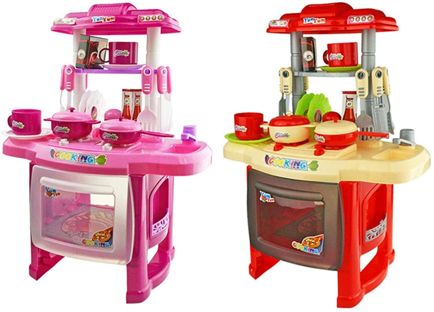 RONSE 2020 New Kids Kitchen Sets for Girls, Kitchen Playset with Realistic Lights & Sounds, Dessert Shelf Toy & Other Kitchen Accessories Set for Girls Boys