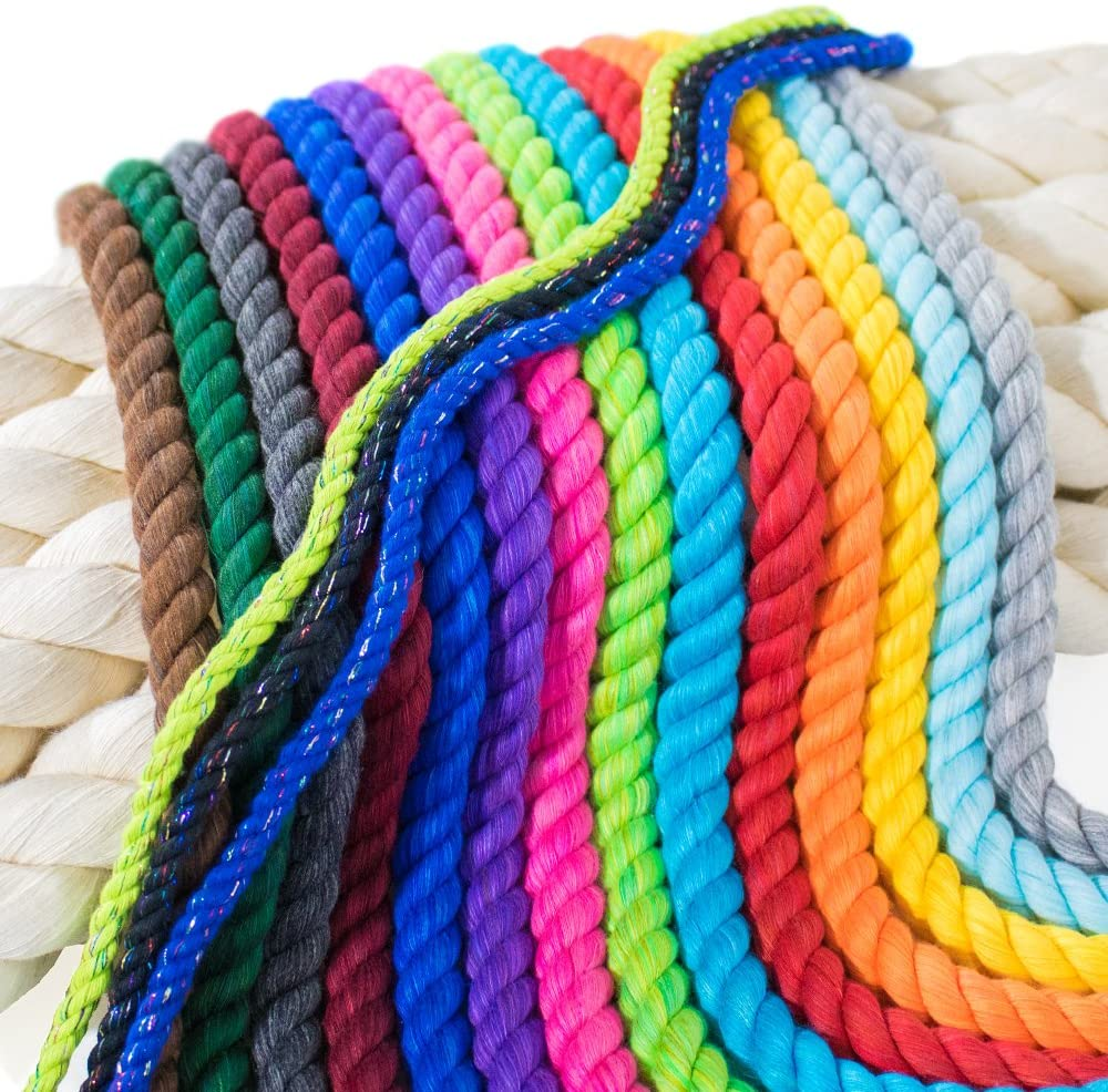 PARACORD PLANET Twisted 3 Strand Natural Cotton Rope Artisan Cord – 1/4, 1/2, 5/8, 3/4, and 1 inch Diameters – Super Soft White and Assorted Colors by The Foot – 10, 25, 50, 100 and Full Spools
