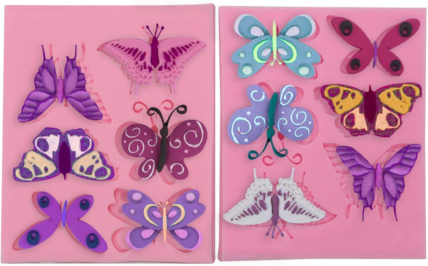 Meiyouju 2Pieces butterfly Candy Molds Silicone,Food Grade Silicone Cake Molds ,Candy, Icing, Biscuit Decor, Chocolate, Polymer Clay, Resin Mold, Epoxy