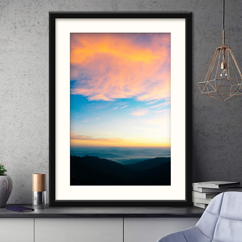 H5print Framed Canvas Wall Art Mountain Sunset X Coastal Orange Photography Relax/Calm Romantics Sunset Warm Artwork Black Frame - 23x31 inches