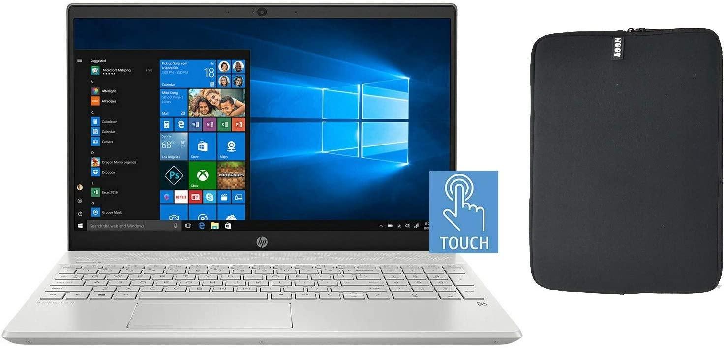 HP 15.6 Inch FHD Touchscreen Laptop Bundle with WOOV Accessory, 10th Gen Intel Quad Core i5-1035G1 (Beat i7-8550U), 8GB RAM, 1TB SSD, Backlit Keyboard, Windows 10 Home