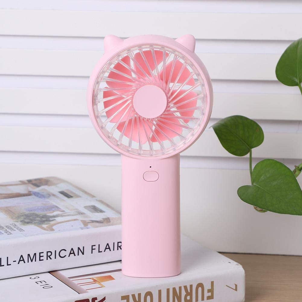 Rosvola Cooling Fan USB Rechargeable Desktop Ultra-Quiet Long Standby Handheld Fan, Mute for Car, Strollers, Table Cabinets for Family, Outdoor Travel, Camping Use(Pink)