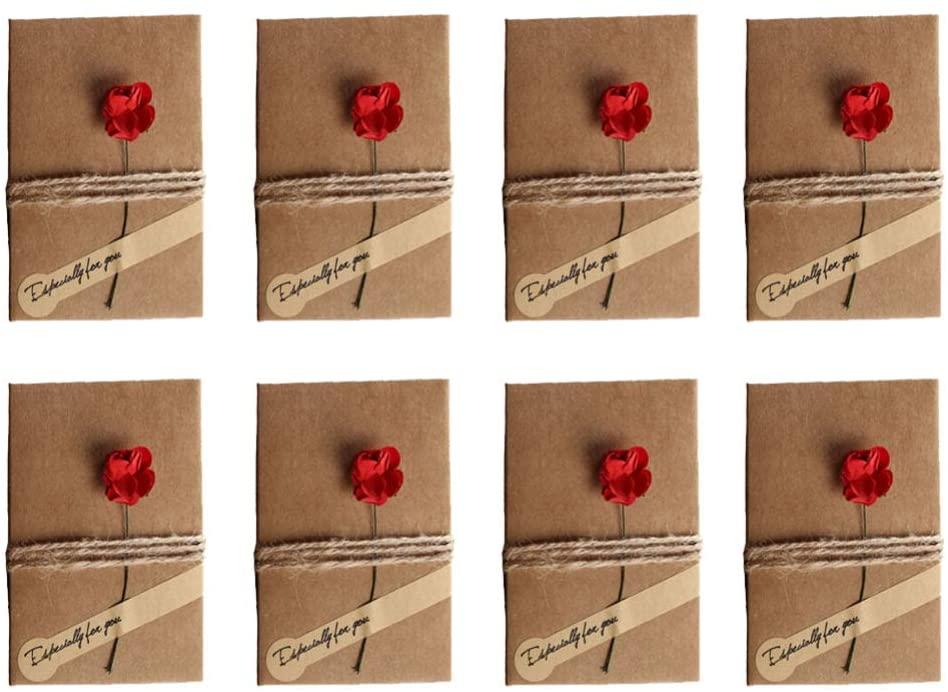 Toyvian 12pcs Birthday Rose Kraft Paper Card Christmas Vintage Greeting Cards (6pcs Large Rose, 6pcs Small Rose)