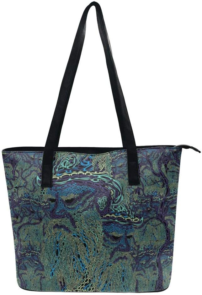NiYoung Women Fashion Tote Bag, Lightweight Waterproof Handbag Shoulder Bag Large Capacity Bag for Business School Travel (Psychedelic Trippy Wisdom Old Man)