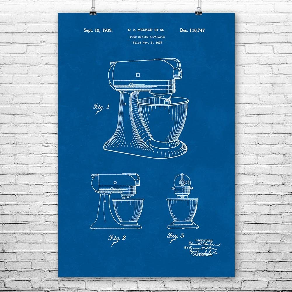 Patent Earth Stand Mixer Poster Print, Culinary Gifts, Kitchen Art, Mixer Blueprint, Cooking Gift, Bakery Decor, Diner Wall Art (12 inch x 16 inch)