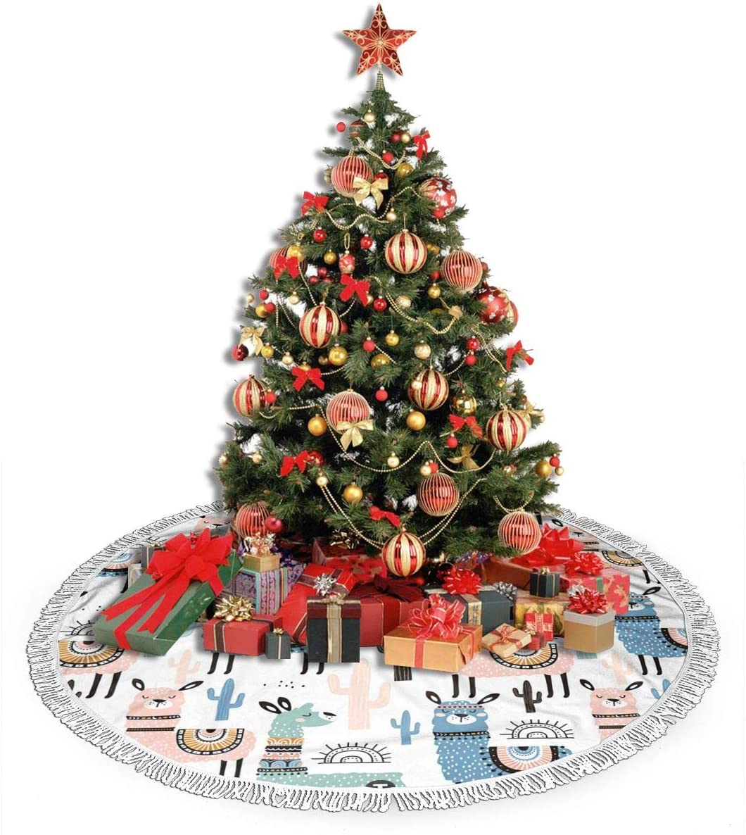 ULQUIEOR Llama Cactus Christmas Tree Skirt Funny Xmas Holiday Party Decorations Large Tree Mat 48 Inch