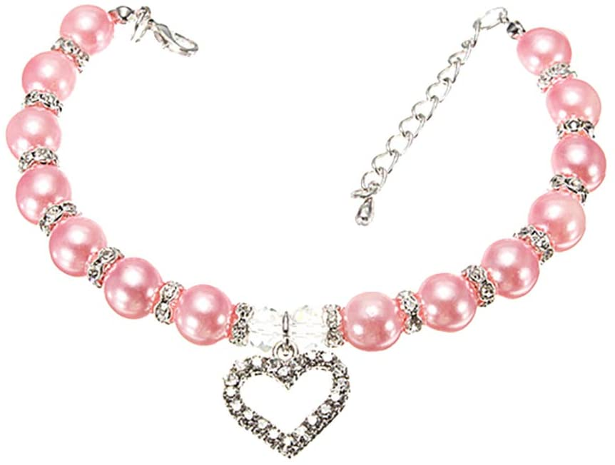 CHoppyWAVE Necklaces Beauty Rhinestone Faux Pearl Love Heart Pendant Puppy Pet Dog Collar Necklace - Pink L