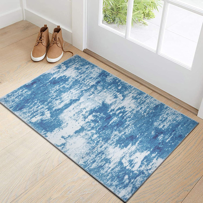 Decomall Tahiti Door Mat 2x3' Abstract Modern Contemporary Carpet Throw Rugs, Blue Beige, 24