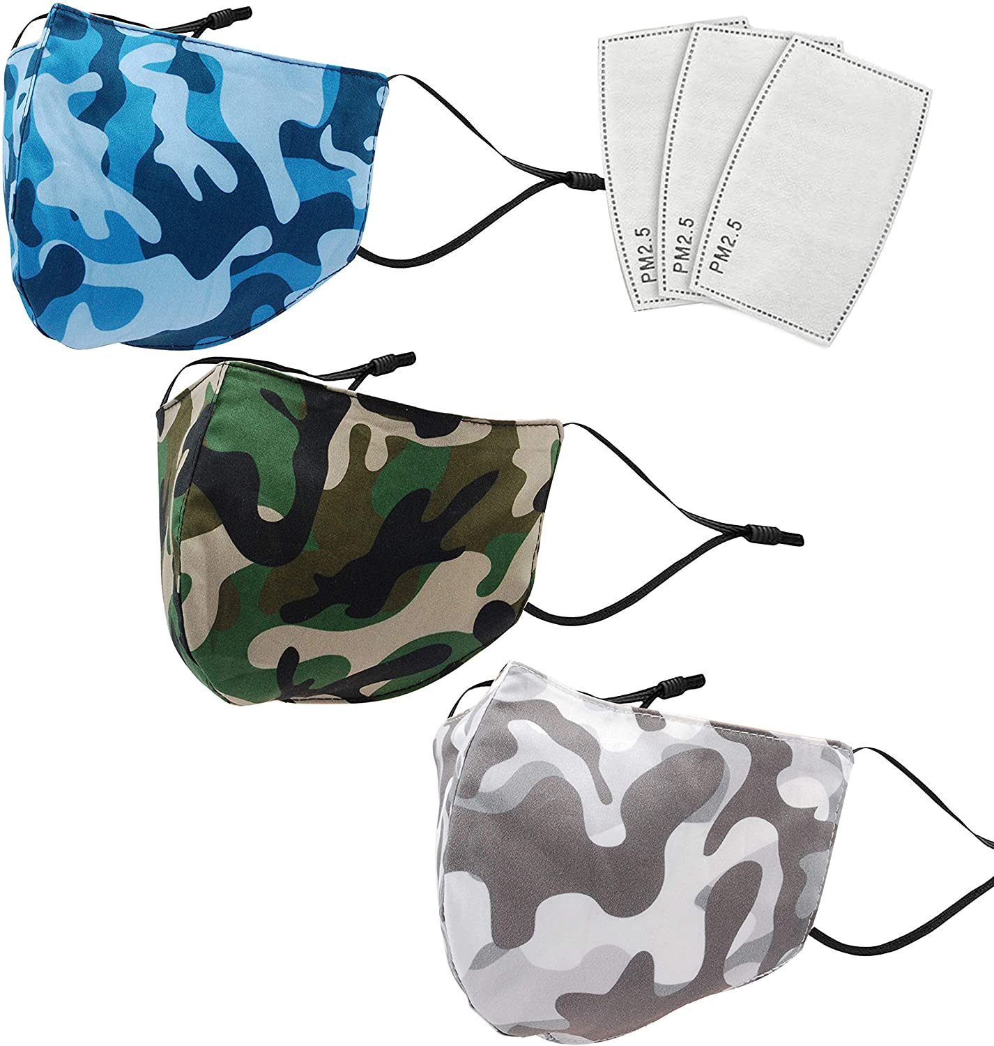 3-Pack Individually Packaged Fashion Resusable Face Mask with PM 2.5 Filter, Comfortable, Soft Elastic Adjustable Ear Loops, Washable and Reusable Mouth S-hield for Men and Women (Holiday Mixed 1)