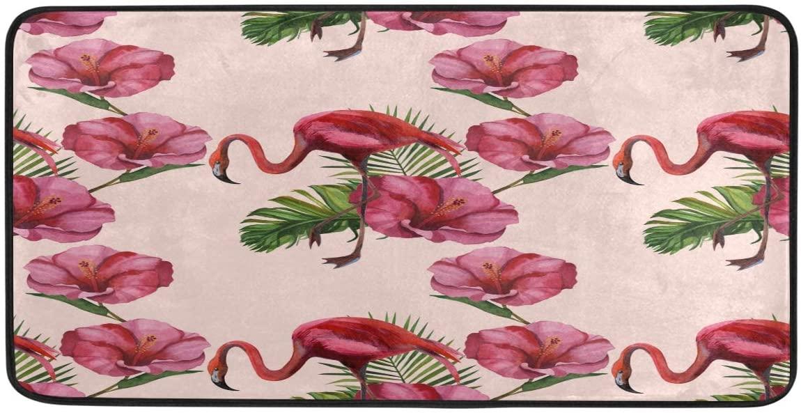 FORMEETY Animal Flamingo Floral Leaf Long Floor Mat Washable Area Rug Pads Kitchen Rug Doormat Carpet for Living Room Indoor Outdoor Bathroom Entryway