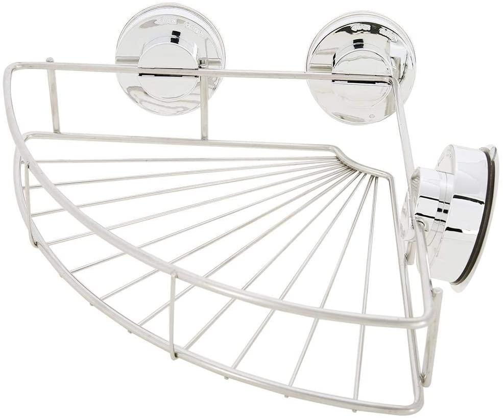 GOTOTOP Bathroom Shower Caddy Shelf, Heavy Duty Stainless Steel Corner Shelf, Wall Mounted Bath Room Corner Organizer Basket, Self-Adhesive with 3 Vacuum Suction Cups,Silver