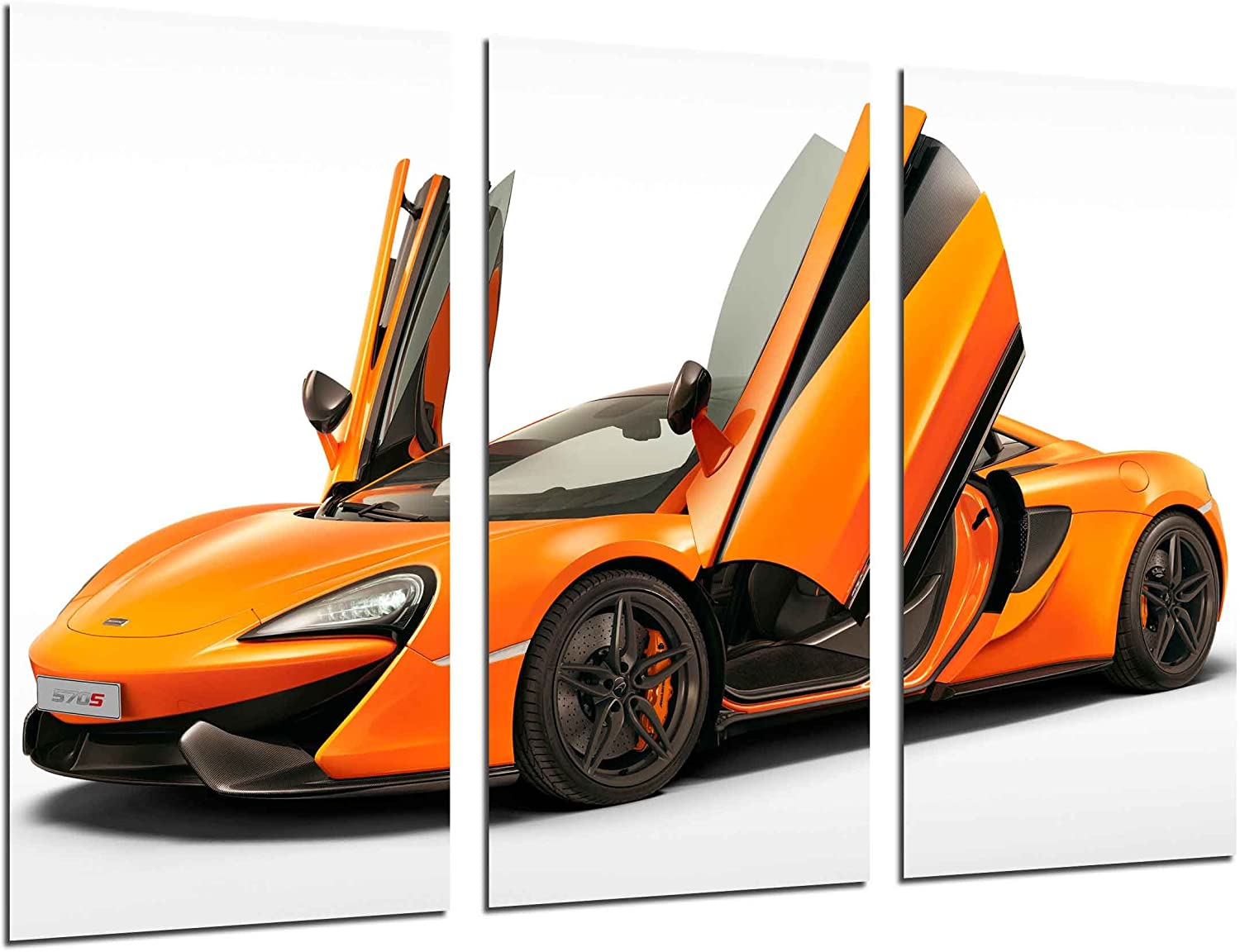 Cuadros Camara Multi Wood Printings Art Print Box Framed Picture Wall Hanging - (Total Size: 38 x 24.4 in), Sports Car, Mclaren 570S, Orange - Framed and Ready to Hang - ref. 26507