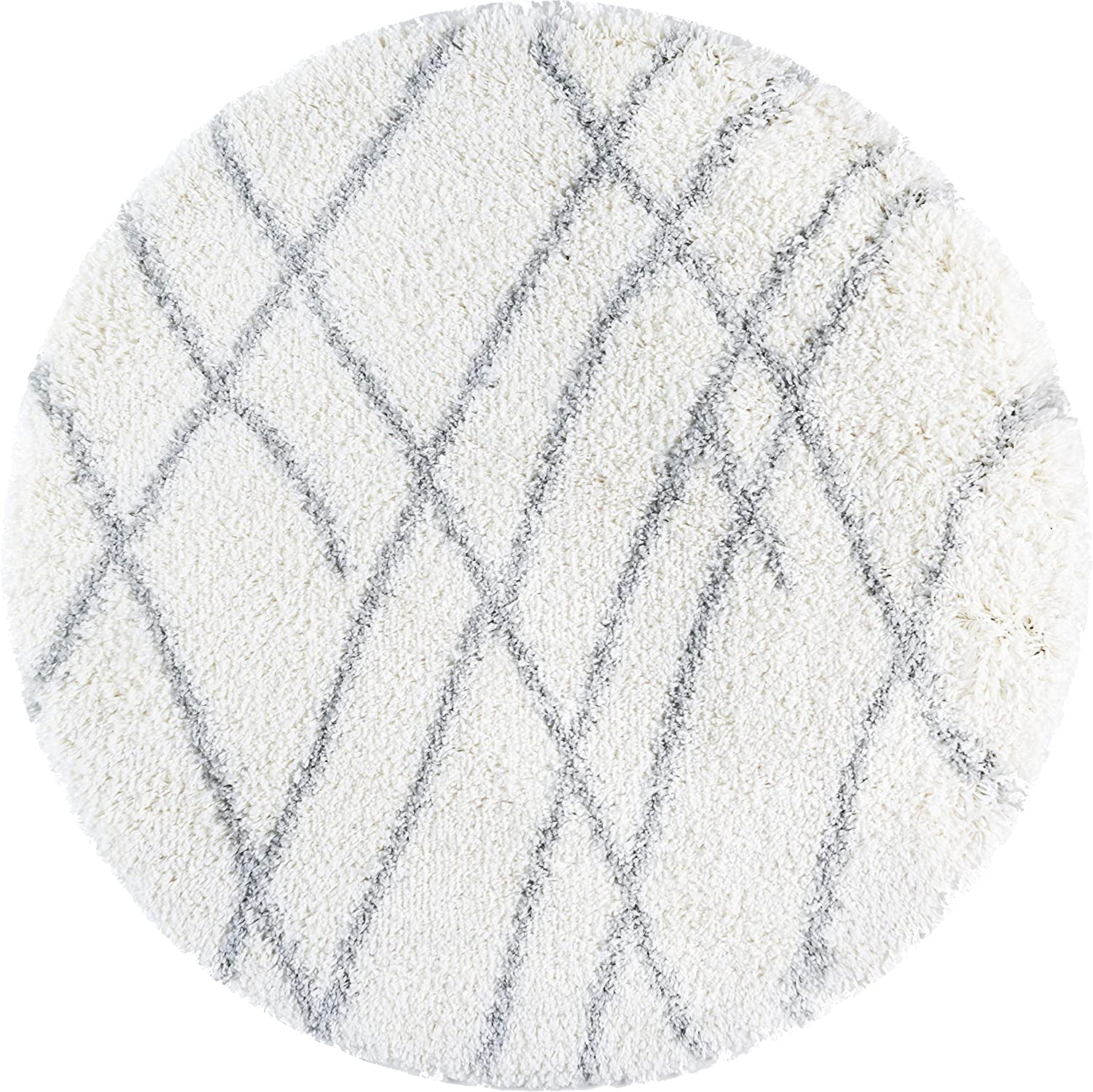 Rugs.com Soft Touch Shag Collection Round Rug – 3 Ft Round Ivory Shag Rug Perfect for Kitchens, Dining Rooms