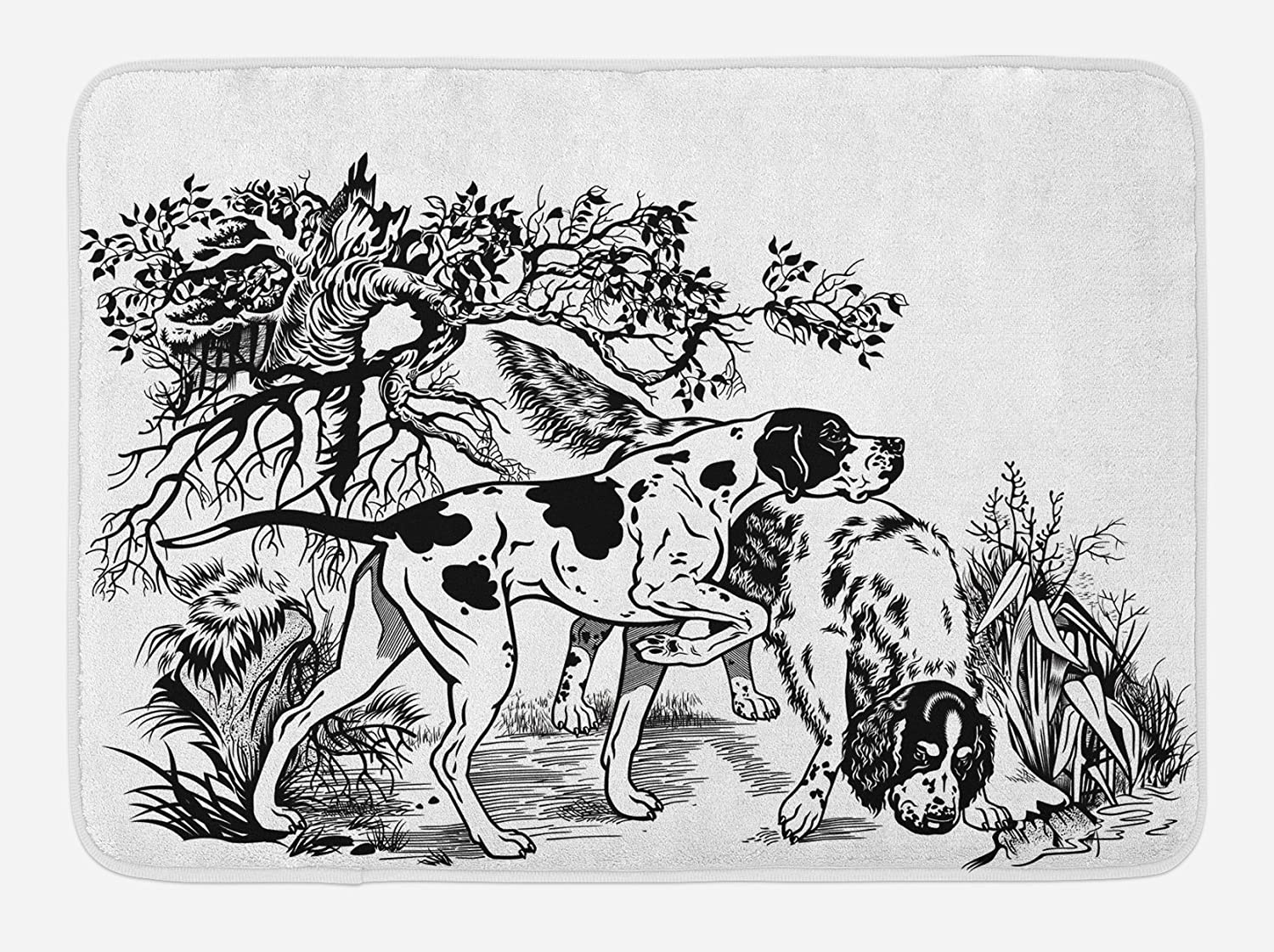 Ambesonne Hunting Bath Mat, Hunting Dogs in The Forest Monochrome Drawing English Pointer and Setter Breeds, Plush Bathroom Decor Mat with Non Slip Backing, 29.5