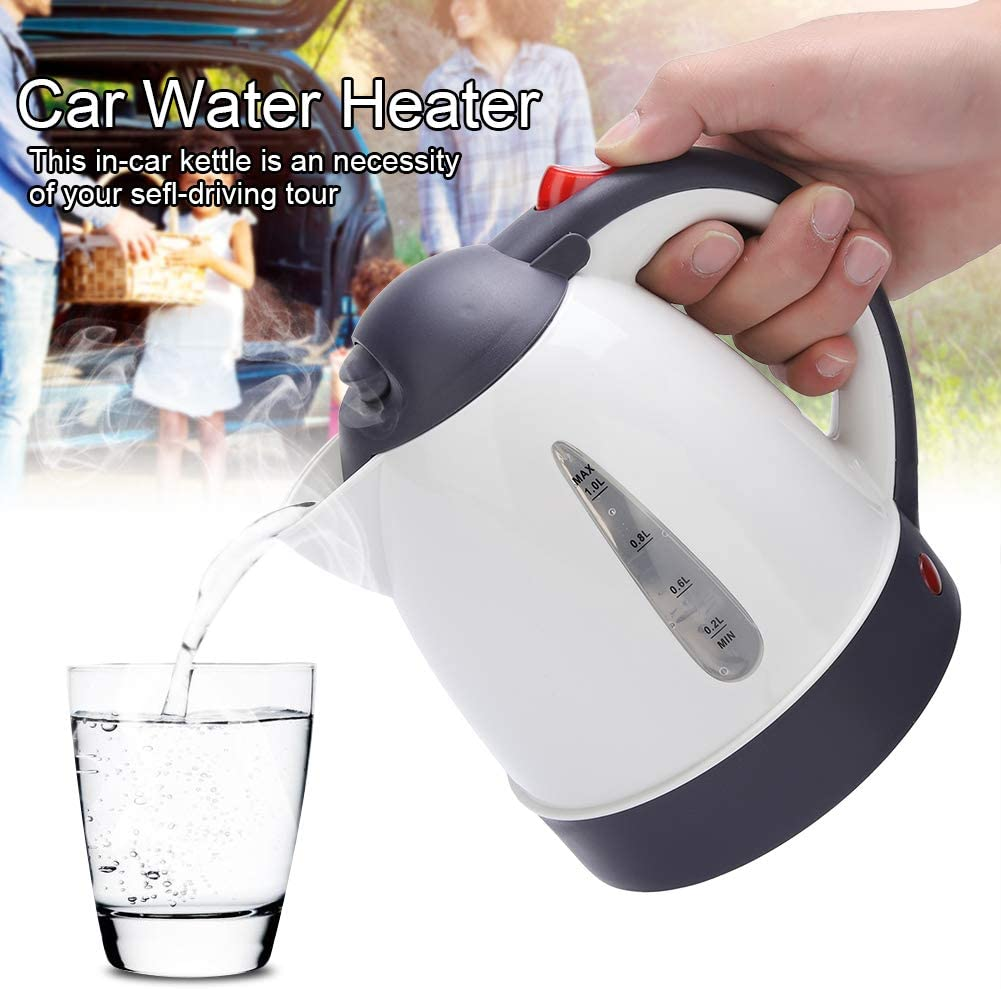 Electric Kettle, Portable 1000ml 12V Travel Car Truck Kettle Water Heater Bottle for Tea Coffee Making for Home Cafe, School, Travel