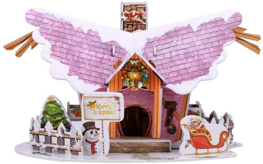 jojofuny Christmas 3D Puzzle House Kids Christmas Snow Cottage Model Paper Jigsaw Puzzles Christmas Desktop Decorations Gifts Crafts Family Toys for Adults and Kids