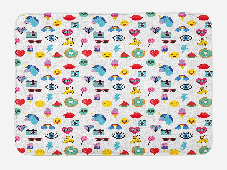 Ambesonne Emoticon Bath Mat, Pop Art Style Cartoon Unicorn Watermelon Banana Pixel Heart Thunder Bolt Eye, Plush Bathroom Decor Mat with Non Slip Backing, 29.5