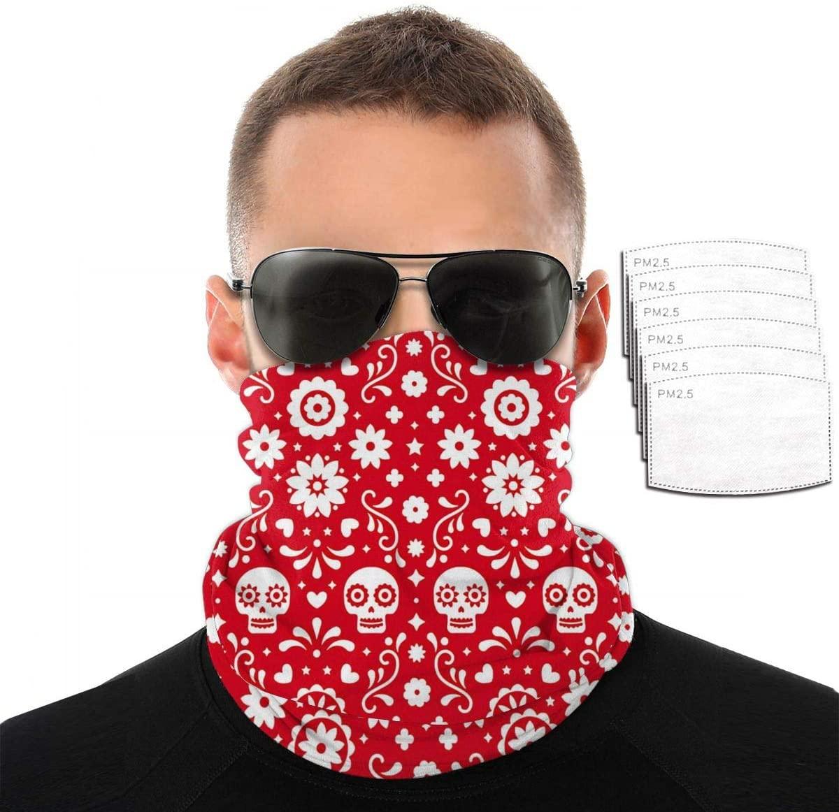 Headwear Unisex White Skull Variety Face Towel Headbands Insert Carbon Filter Bandana Neck Gaiter Face Protector For Dust Outdoors