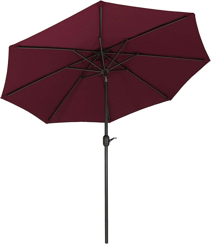 Sunnydaze 9-Foot Outdoor Patio Umbrella with Fade Resistant Umbrella Canopy, Auto Tilt & Crank, Rust Resistant Aluminum, Burgundy