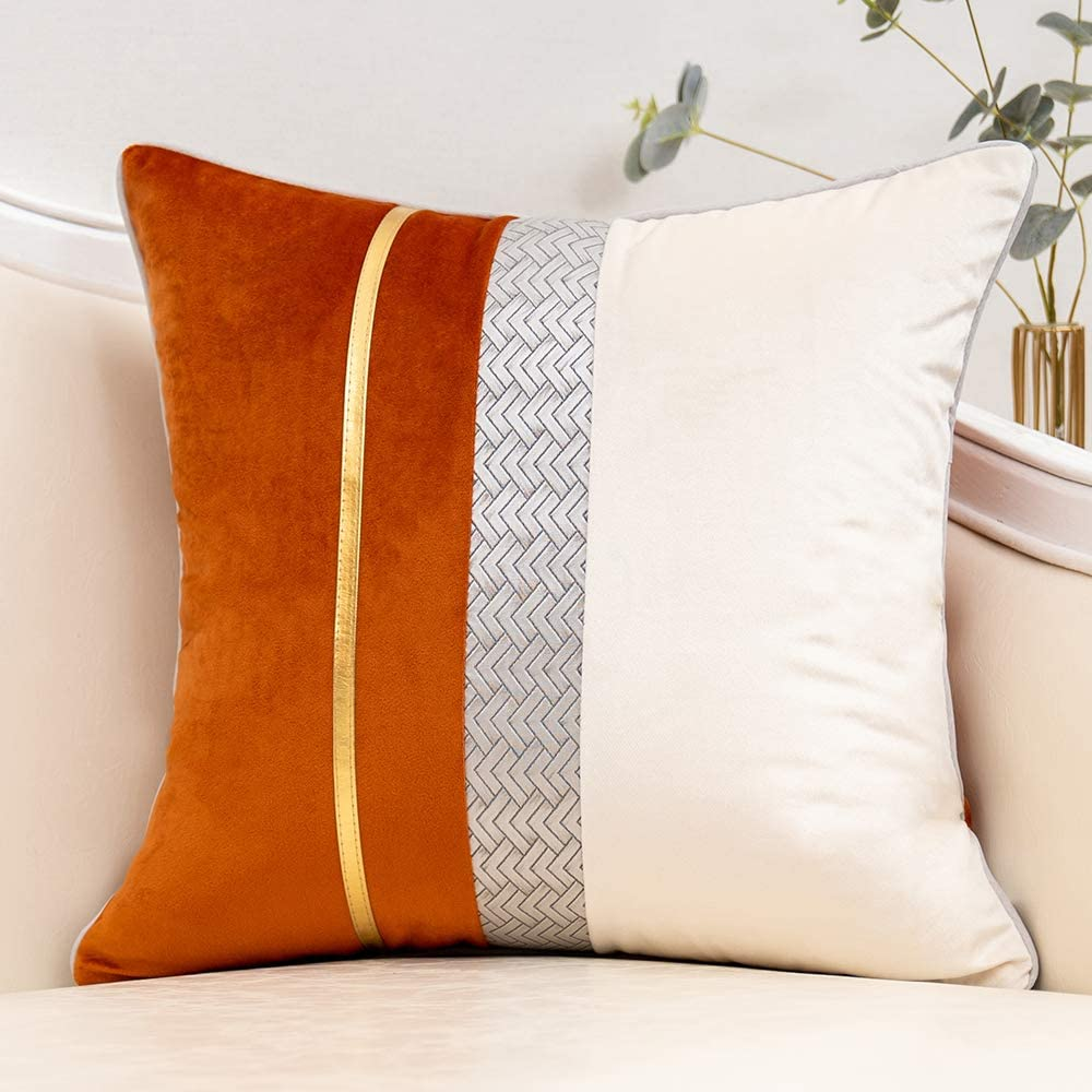 Yangest Burnt Orange Patchwork Velvet Throw Pillow Cover with Gold Striped Leather Cushion Case Modern Luxury Pillowcase for Sofa Couch Bedroom Living Room Home Decor,20