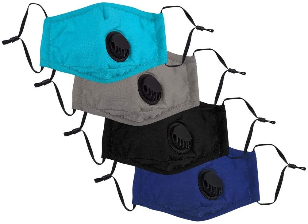 Stuan 4PCS Kids Cotton Face_MASK with Breathing Valvefilter,Unisex Boy Girls Comfortable Dustproof Protection Face_MASK (B)