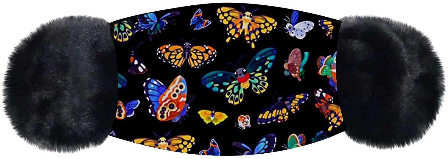 Unisex Butterfly Printing Face_Mask_Cover with Ear Warm Protection Washable and Reusable Face Covering Breathable Soft Mouth Bandanas Fashion Design for Adult Women and Men