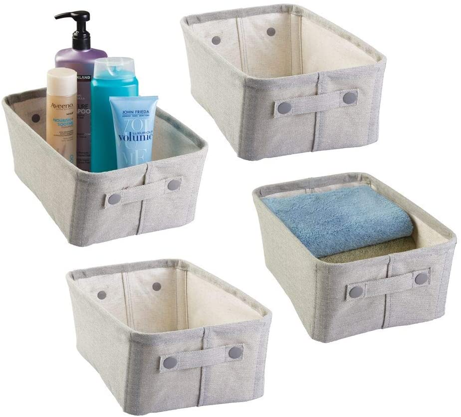 mDesign Soft Cotton Fabric Closet Storage Organizer Bin Basket with Coated Interior and Attached Carrying Handles for Bathroom Vanity, Cabinet, Shelf, Countertop - Wide, 4 Pack - Light Gray