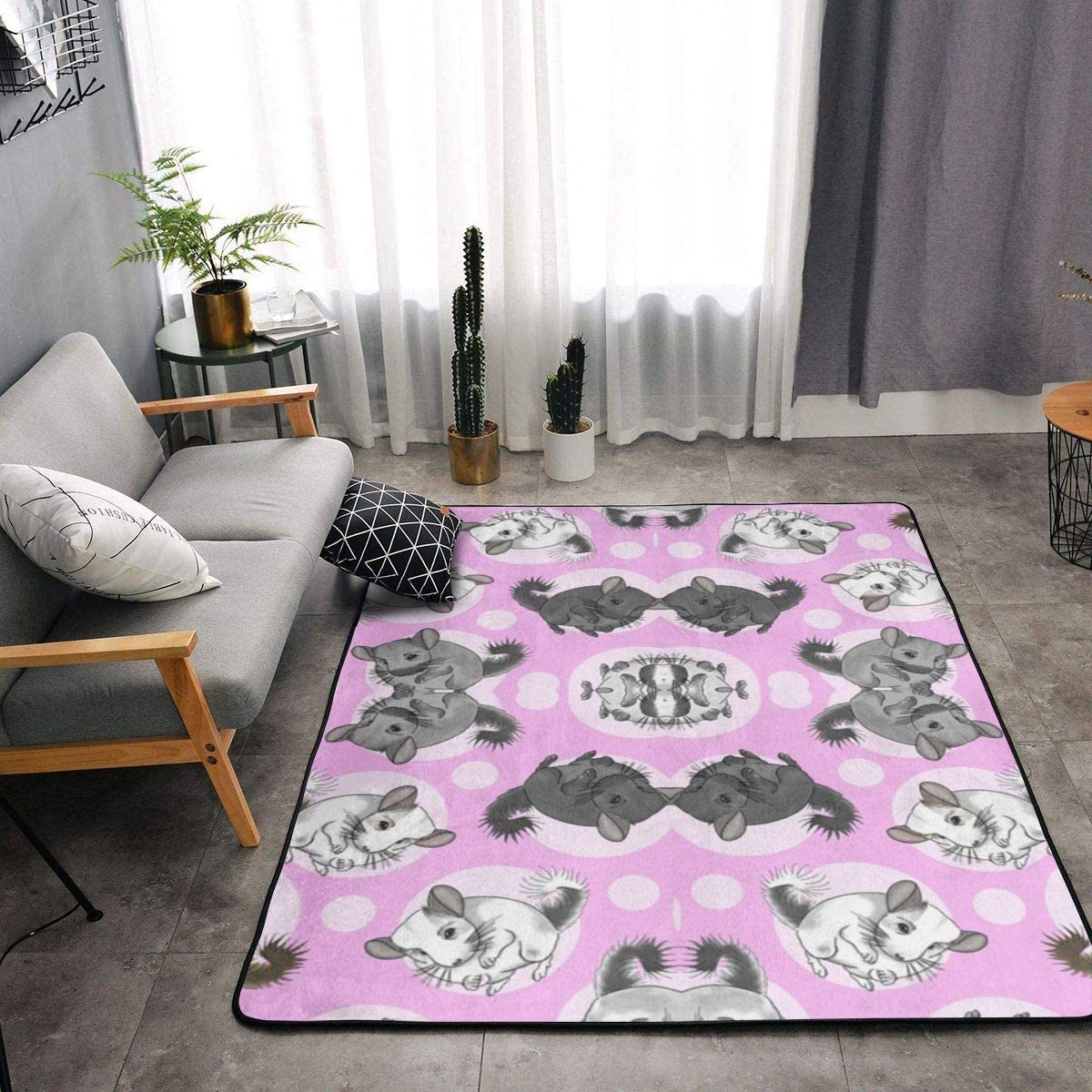 Fluffy Area Rug Modern Shag Rug Pads Fuzzy Nursery Carpet for Kids, Soft Plush Rugs for Living Room Children Bedroom Kitchen Home Decoration 60x36 in,Pink Chinchillas and Moon Dots